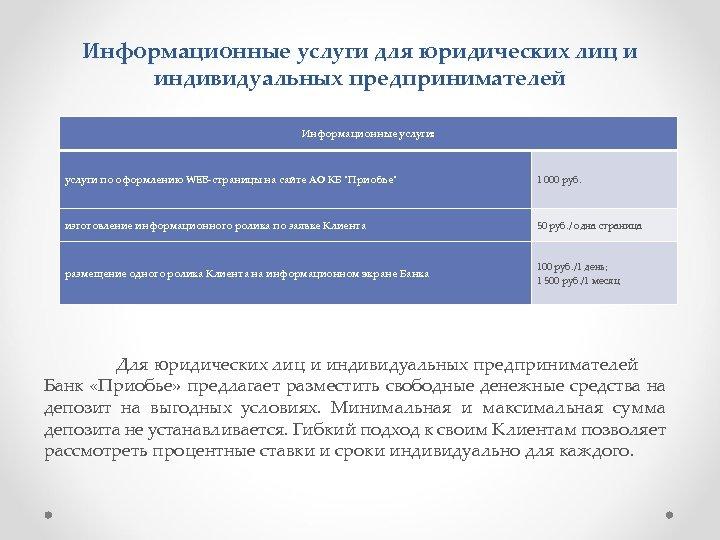 Информационные услуги для юридических лиц и индивидуальных предпринимателей Информационные услуги: услуги по оформлению WEB-страницы