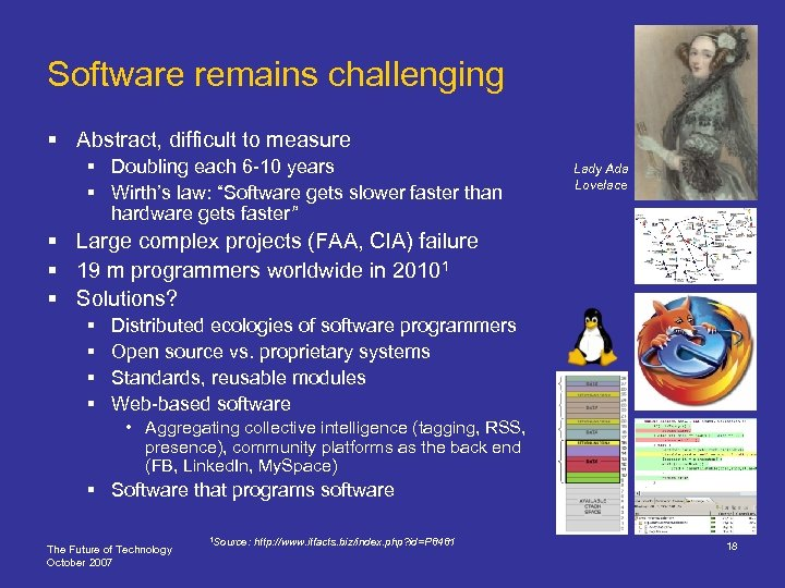 Software remains challenging § Abstract, difficult to measure § Doubling each 6 -10 years