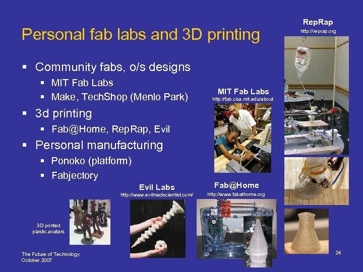 Personal fab labs and 3 D printing Rep. Rap http: //reprap. org § Community
