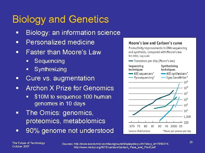 Biology and Genetics § § § Biology: an information science Personalized medicine Faster than