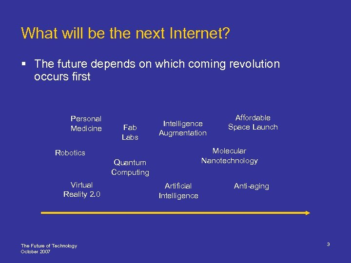 What will be the next Internet? § The future depends on which coming revolution