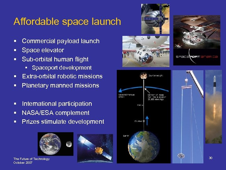 Affordable space launch § Commercial payload launch § Space elevator § Sub-orbital human flight