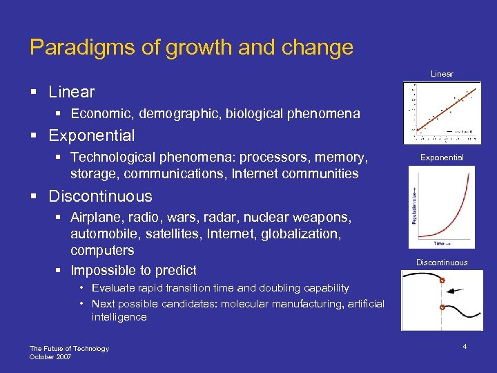Paradigms of growth and change Linear § Economic, demographic, biological phenomena § Exponential §
