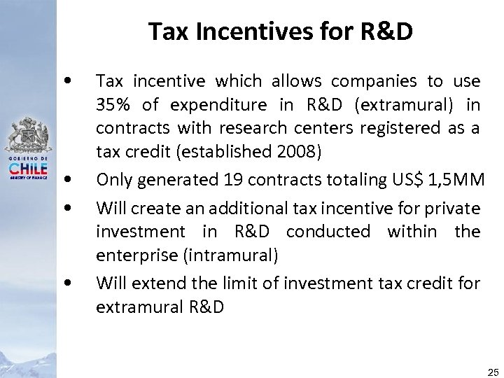 Tax Incentives for R&D • MINISTRY OF FINANCE • • • Tax incentive which