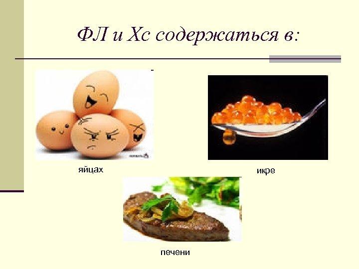 ФЛ и Хс содержаться в: яйцах икре печени