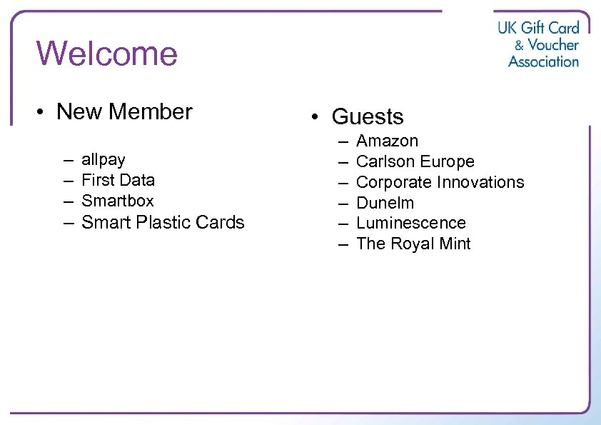 Welcome • New Member – allpay – First Data – Smartbox – Smart Plastic