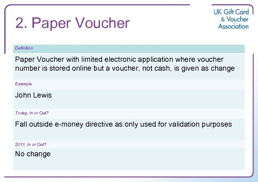 2. Paper Voucher Definition Paper Voucher with limited electronic application where voucher number is