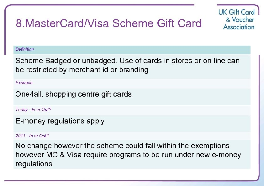 8. Master. Card/Visa Scheme Gift Card Definition Scheme Badged or unbadged. Use of cards