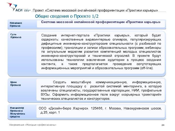 Проект «Система массовой онлайновой профориентации «Практики карьеры» Общие сведения о Проекте 1/2 Название Проекта