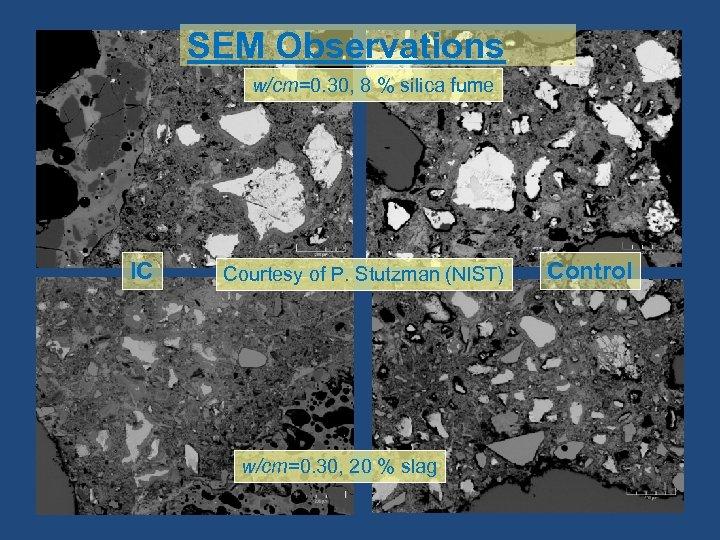 SEM Observations w/cm=0. 30, 8 % silica fume IC Courtesy of P. Stutzman (NIST)
