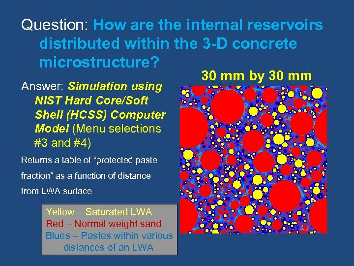 Question: How are the internal reservoirs distributed within the 3 -D concrete microstructure? Answer: