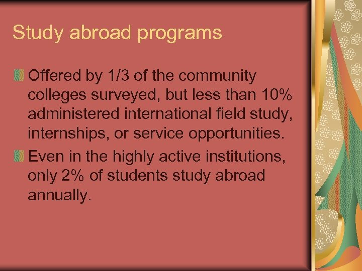 Study abroad programs Offered by 1/3 of the community colleges surveyed, but less than