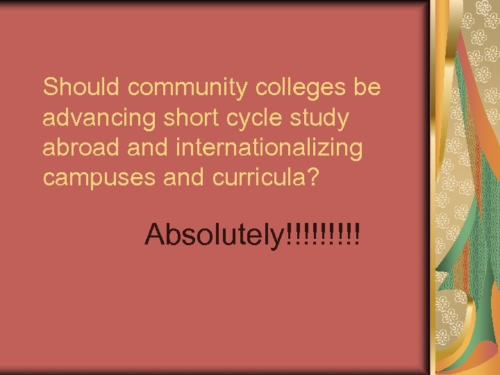 Should community colleges be advancing short cycle study abroad and internationalizing campuses and curricula?