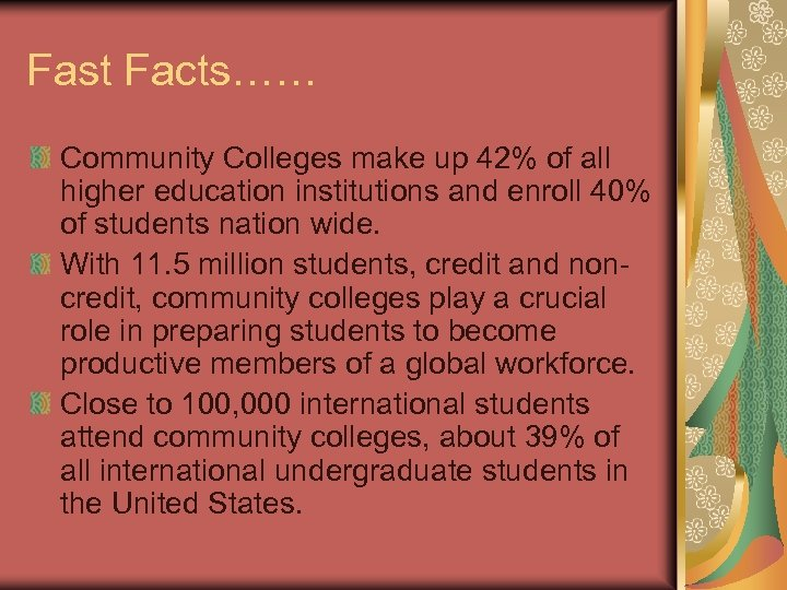 Fast Facts…… Community Colleges make up 42% of all higher education institutions and enroll