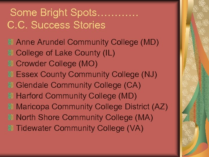 Some Bright Spots………… C. C. Success Stories Anne Arundel Community College (MD) College of
