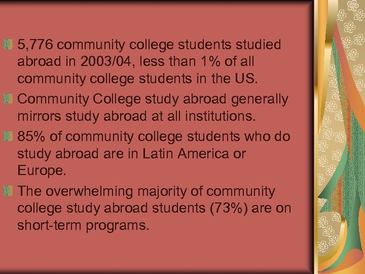 5, 776 community college students studied abroad in 2003/04, less than 1% of all