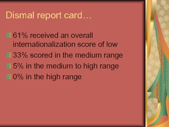 Dismal report card… 61% received an overall internationalization score of low 33% scored in