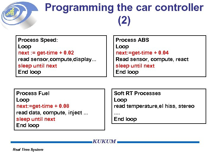 Programming the car controller (2) Process Speed: Loop next : = get-time + 0.