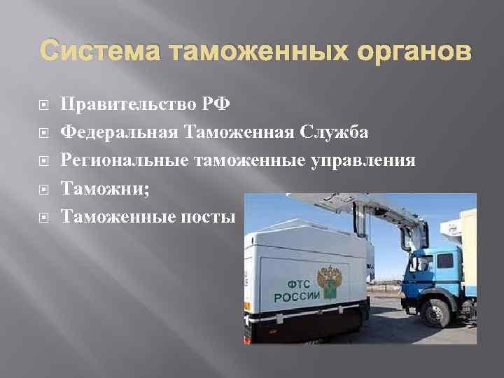 Система таможенных органов Правительство РФ Федеральная Таможенная Служба Региональные таможенные управления Таможни; Таможенные посты