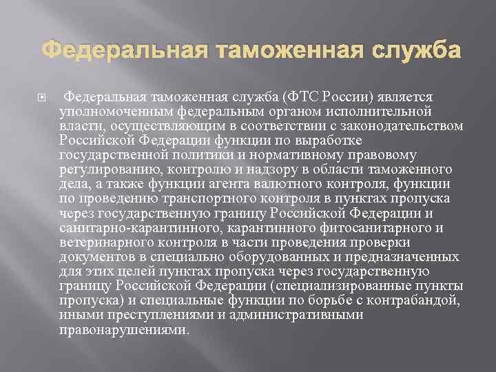Федеральная таможенная служба (ФТС России) является уполномоченным федеральным органом исполнительной власти, осуществляющим в соответствии