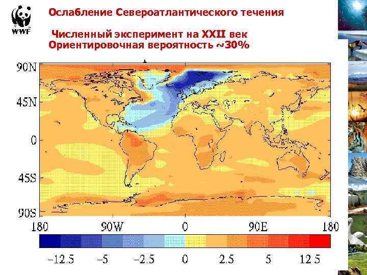 Ослабление Североатлантического течения Численный эксперимент на XXII век Ориентировочная вероятность ~30%
