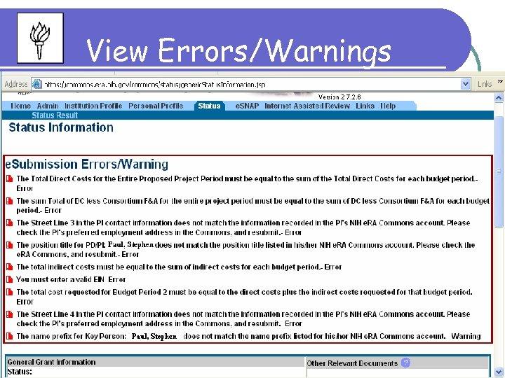 View Errors/Warnings 109