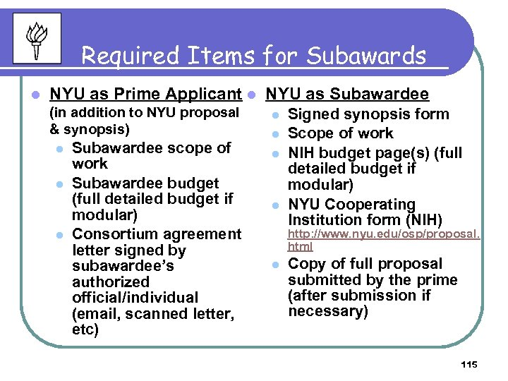 Required Items for Subawards l NYU as Prime Applicant l NYU as Subawardee (in