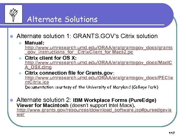 Alternate Solutions l Alternate solution 1: GRANTS. GOV's Citrix solution l Manual: l Citrix