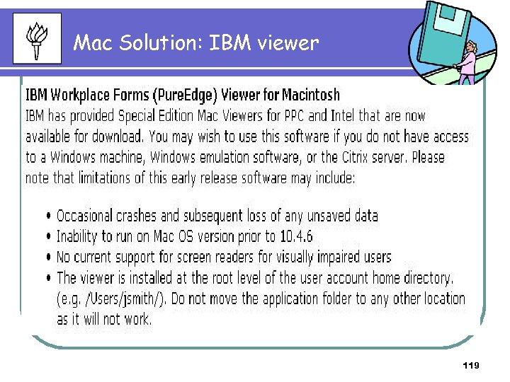 Mac Solution: IBM viewer 119
