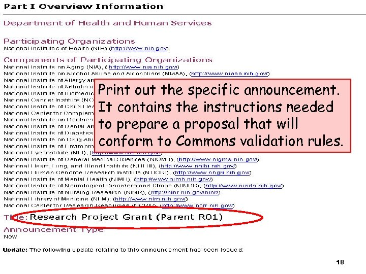 Print out the specific announcement. It contains the instructions needed to prepare a proposal