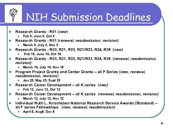 NIH Submission Deadlines l Research Grants - R 01 (new) l l Research Grants