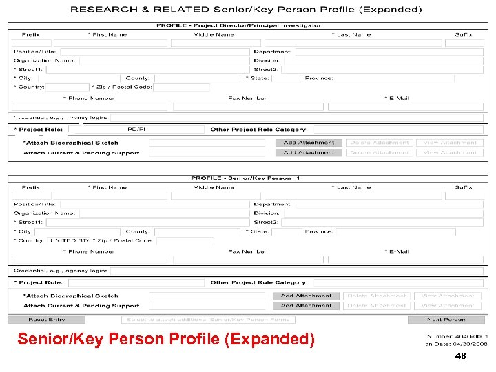 Senior/Key Person Profile (Expanded) 48
