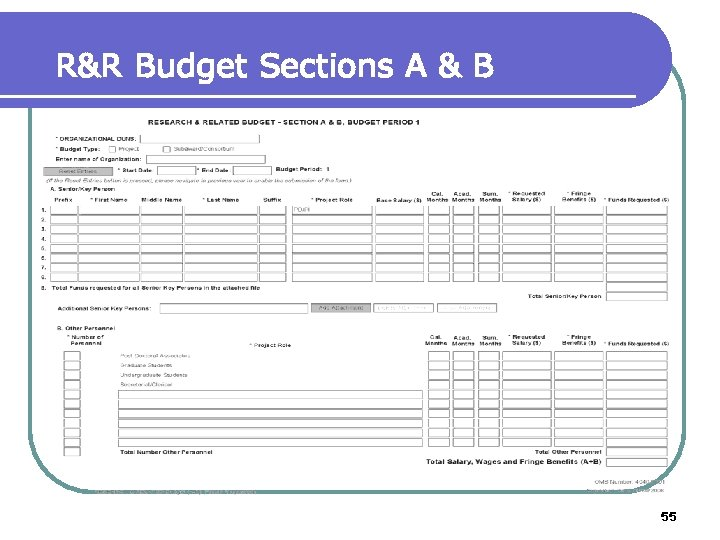 R&R Budget Sections A & B 55
