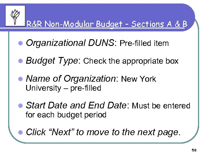 R&R Non-Modular Budget – Sections A & B l Organizational l Budget l Name