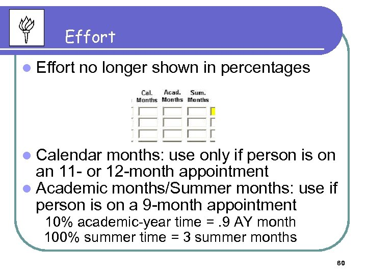 Effort l Effort no longer shown in percentages l Calendar months: use only if
