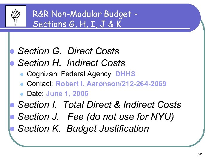 R&R Non-Modular Budget – Sections G, H, I, J & K l Section G.