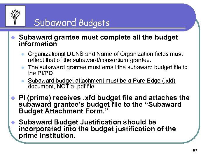 Subaward Budgets l Subaward grantee must complete all the budget information. l l l
