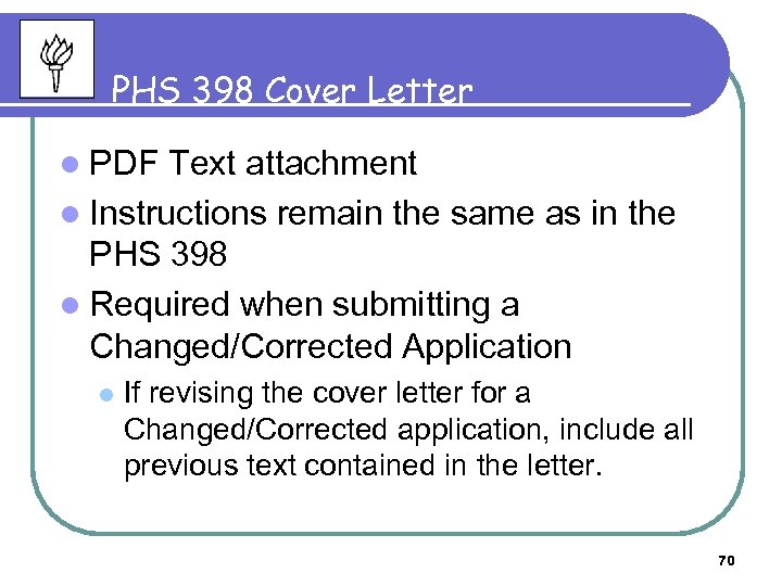 PHS 398 Cover Letter l PDF Text attachment l Instructions remain the same as