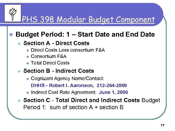 PHS 398 Modular Budget Component l Budget Period: 1 – Start Date and End
