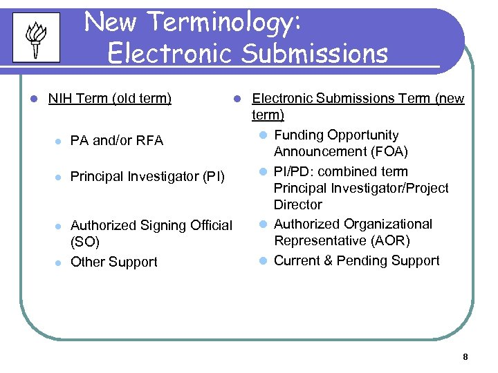 New Terminology: Electronic Submissions l NIH Term (old term) l PA and/or RFA l