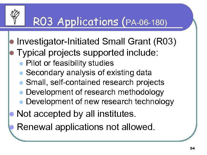 R 03 Applications (PA-06 -180) l Investigator-Initiated Small Grant (R 03) l Typical projects