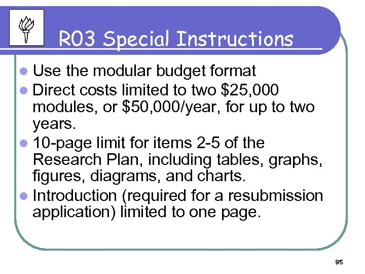 R 03 Special Instructions l Use the modular budget format l Direct costs limited