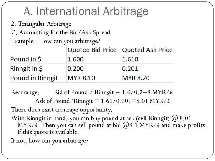 A. International Arbitrage 2. Triangular Arbitrage C. Accounting for the Bid/Ask Spread Example :