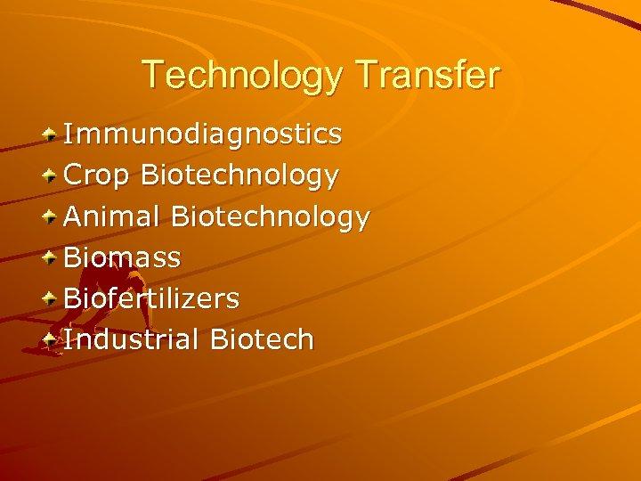 Technology Transfer Immunodiagnostics Crop Biotechnology Animal Biotechnology Biomass Biofertilizers Industrial Biotech
