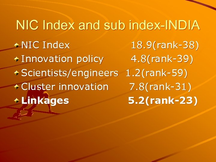 NIC Index and sub index-INDIA NIC Index 18. 9(rank-38) Innovation policy 4. 8(rank-39) Scientists/engineers