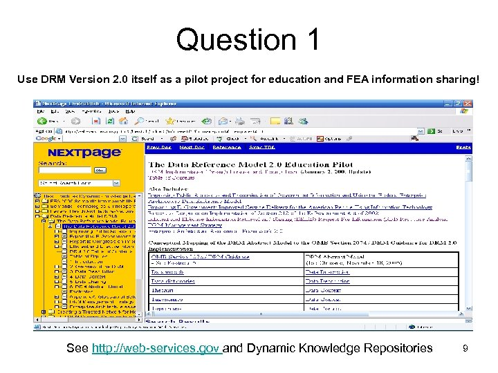 Question 1 Use DRM Version 2. 0 itself as a pilot project for education