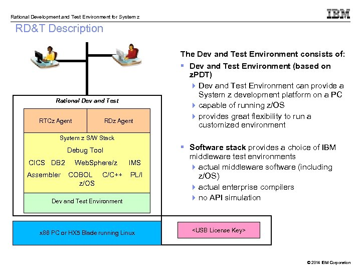 Rational Development and Test Environment for System z RD&T Description The Dev and Test