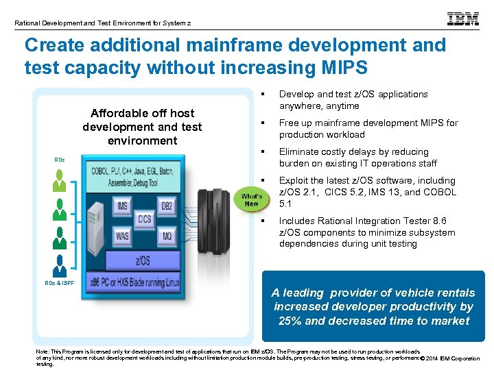 Rational Development and Test Environment for System z Create additional mainframe development and test