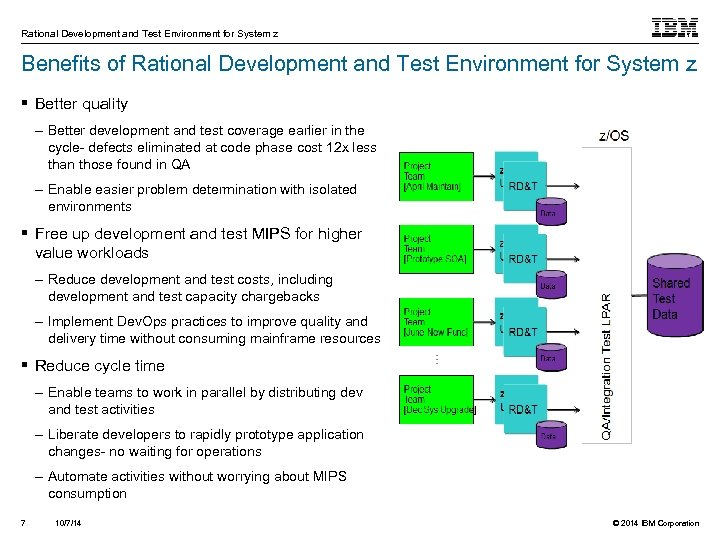 Rational Development and Test Environment for System z Benefits of Rational Development and Test