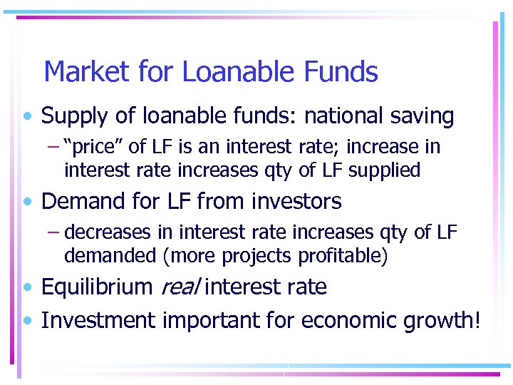 "Market for Loanable Funds • Supply of loanable funds: national saving – ""price"" of"